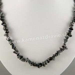 Obsidián vločkový - sekaný náhrdelník