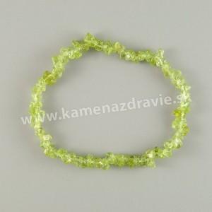 Olivín - sekaný náramok gumičkový