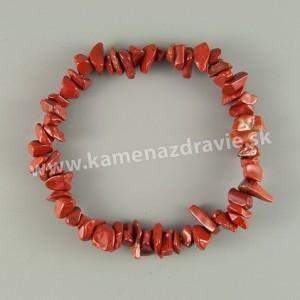 Jaspis červený - sekaný náramok gumičkový