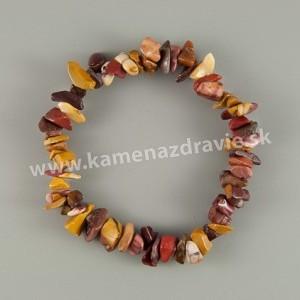 Jaspis mookait - sekaný náramok gumičkový