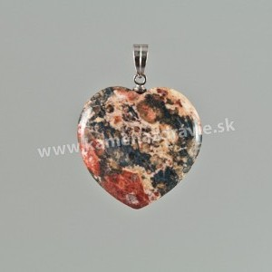 Prívesok srdce 25mm - jaspis leopardí