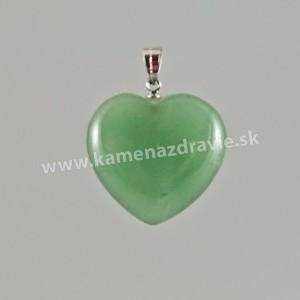 Prívesok srdce 25mm - avanturín zelený