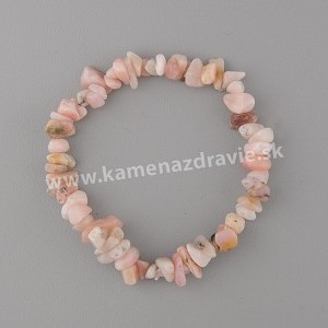 Opál ružový - sekaný náramok gumičkový