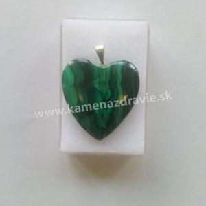 Prívesok malachit srdce Ag v krabičke, extrakvalit
