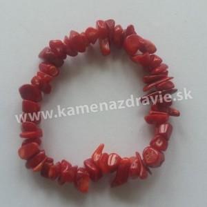 Korál červený - sekaný náramok gumičkový