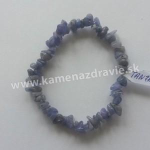 Tanzanit - sekaný náramok gumičkový