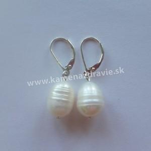 Náušnice - riečne perly biele
