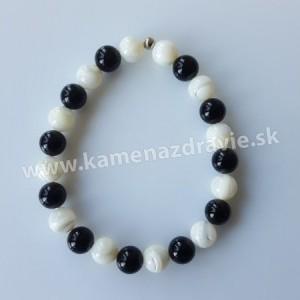 Guličkový náramok - perleť , ónyx