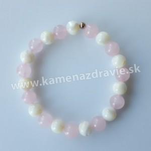 Guličkový náramok - perleť , ruženín