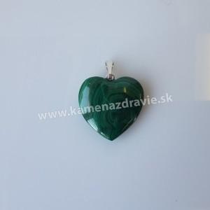 Prívesok malachit srdce cca 20 mm