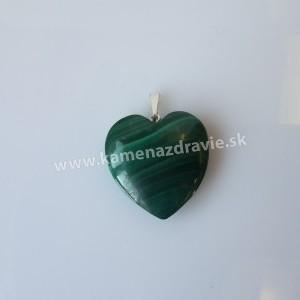 Prívesok malachit srdce cca 25 mm