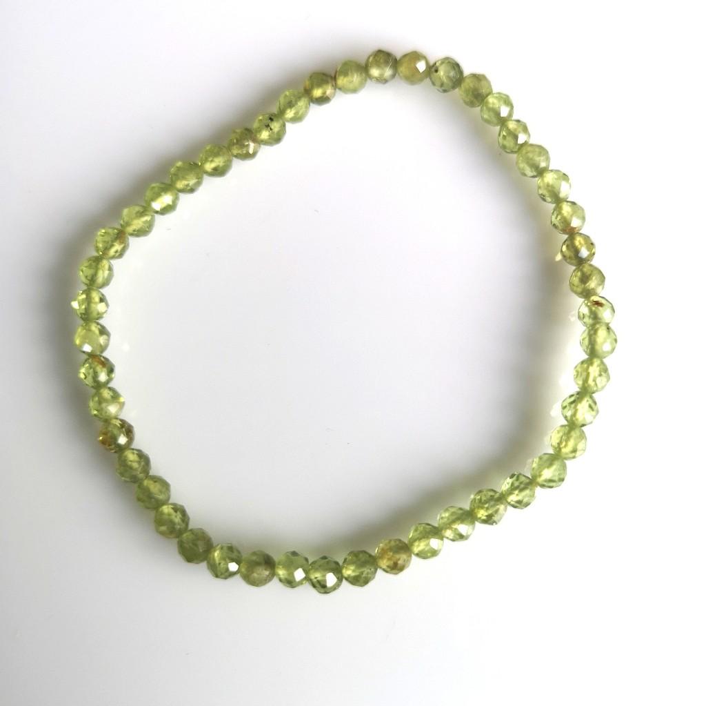 Guličkový náramok - olivín 4mm