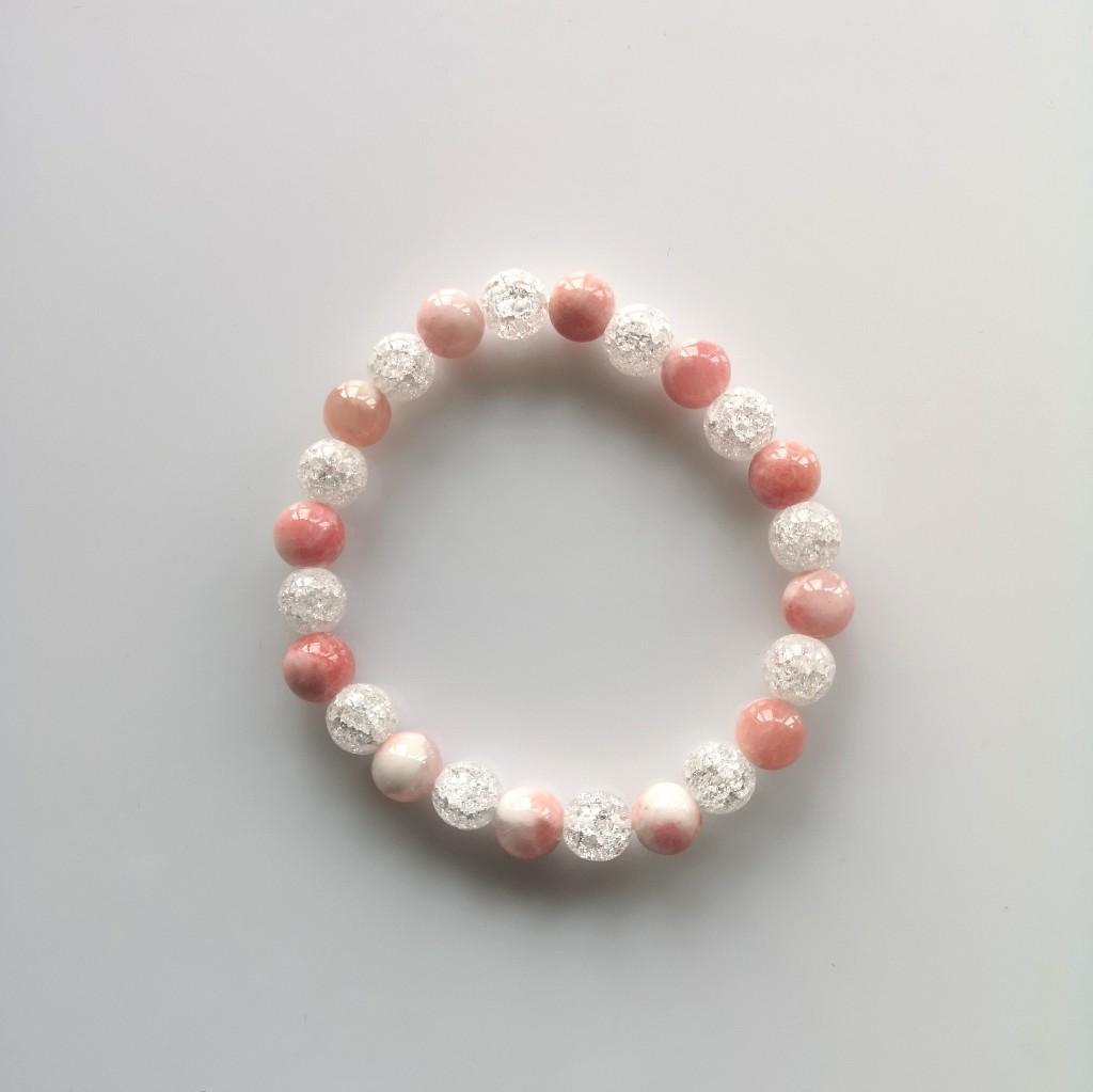 Guličkový náramok - krištáľ,jadeit ružový