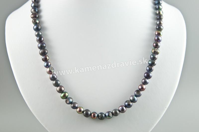 Náhrdelník - riečne perly tmavý