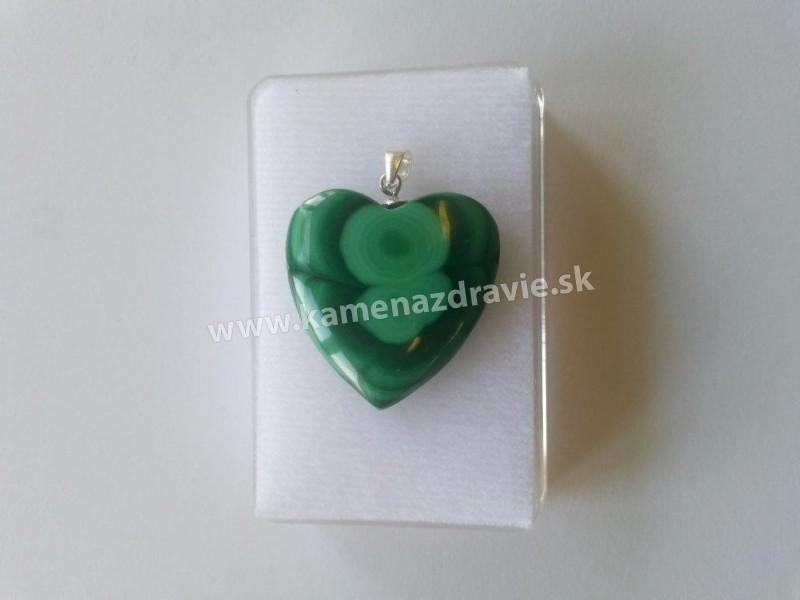 Prívesok malachit srdce Ag v krabičke,extrakvalita