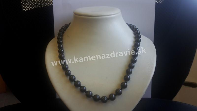 Šungit náhrdelnik - Guličky 10 mm